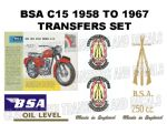 BSA C15 Star 1958 to 1967 Transfer Decal Set